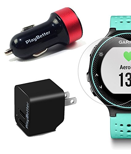 Garmin Forerunner 235 (Frost Blue) GPS Running Watch Bundle | with HD Screen Protector Film (x4) & PlayBetter USB Car/Wall Adapters | On-Wrist Heart Rate | Elevate Heart Rate Technology | VO2 Max by PlayBetter (Image #5)