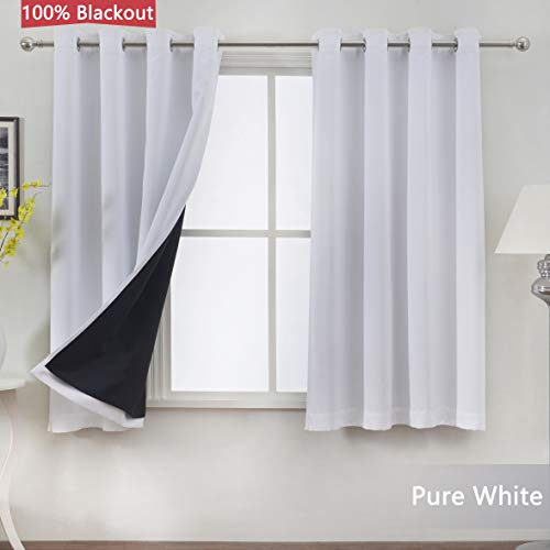 JC JACK&CATHERINE 100% Blackout Curtains Lined with Grommet Top Thermal Insulated Curtain for Bedroom, 52 x 63 inch, Pure White, Set of 2 Panels