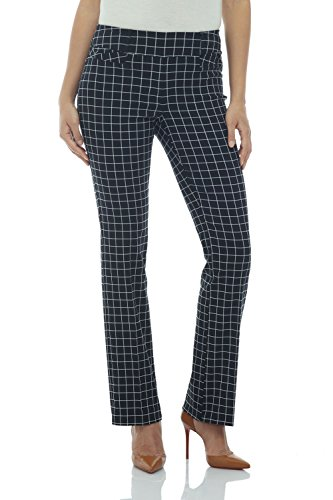 Rekucci Women's Ease in to Comfort Fit Barely Bootcut Stretch Pants (18,Ink/White Check)