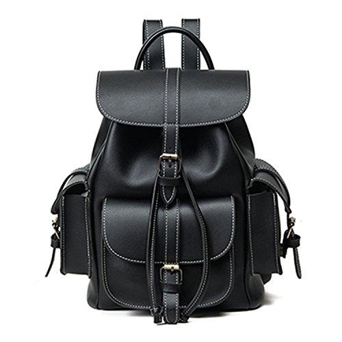 Bag Women Backpack Famale England Style Pu Backpack Men Black