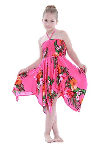 Girl Gypsy Uneven Button Hawaiian Luau Dress in Hot Pink Floral