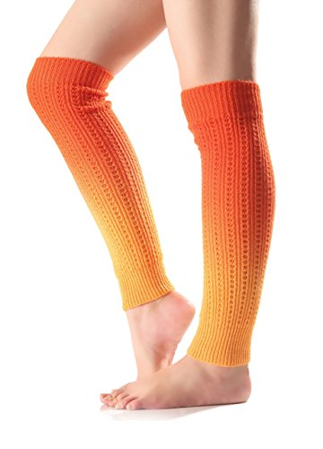 (Urban CoCo Women's Gradient Color Footless Socks Knit Crochet Warm Leg Warmer)