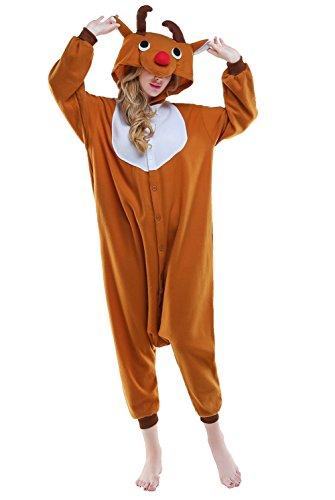 NEWCOSPLAY Unisex Adult Onesie Cute Elk Outfit Cosplay Costume Pajamas Jumpsuit (XL, Elk) -