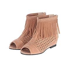 Women's Zip Tassels Peep Toe Pierced Casual Low Heel Short Summer Boots