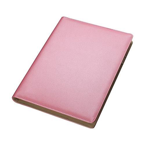 AHGXG Business Card Book Holder, Leather Organizer Binder with Folder Pen Holder, Name Card Organizer Credit Card Holder, 600 Cards, Pink Color ()