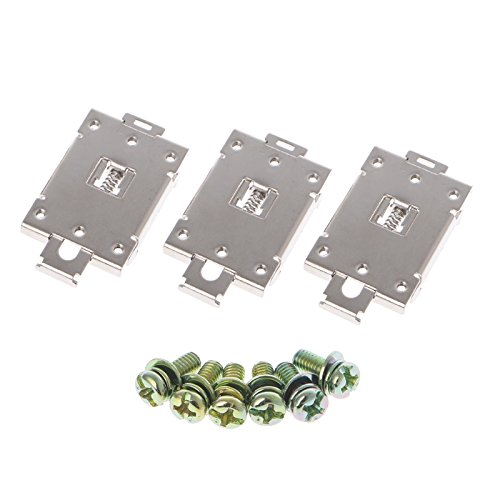 UTP 3 Pcs Single Phase SSR 35mm DIN Rail Fixed Solid State Relay Clip Clamp w./ 6 Mounting Screws (Solid Din Rail)