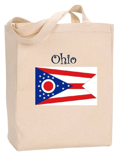 OHIO - FLAG - State Series - Natural Canvas Tote Bag with Gusset ()