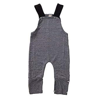 Xifamniy Infant Unisex Babies Strap Romper Solid Color Fashion Wild Textile Jumpsuit Gray