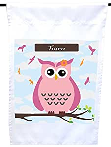 Rikki Knight Tiara Name Cute Pink Owl on Branch with Personalized Name House or Garden Flag, 12 x 18-Inch Flag Size with 11 x 11-Inch Image