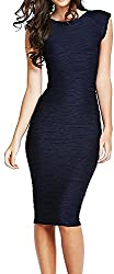 LUNAJANY Women's Navy Textured Sleeveless Bodycon Dress