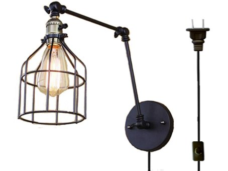 Industrial Loft Style Wall Sconce Vintage Iron Cage Integrated cord (wire, plug & switch) Wall Lamps Home Indoor Lighting Swing Arm Wall Light ,Edison Bulb Included(BD0262) - Fixed Arm Wall Lamp