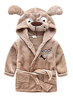 Toddler Kids Cartoon Hooded Plush Robe Animal Pajamas Fleece Bathrobe Children Sleepwear