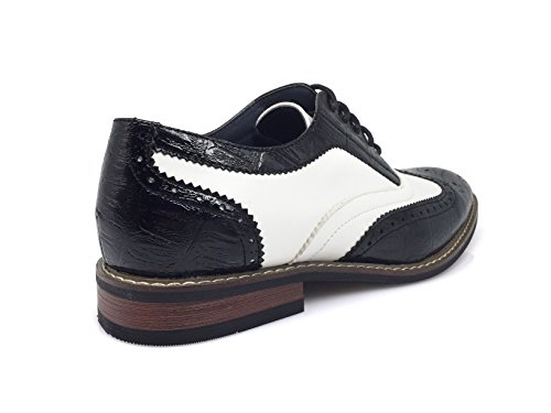 Enzo Romeo Robe Homme Oxfords Chaussures Italy Design Moderne Wingtip Captoe 2 Tons Chaussures À Lacets Conrad3_black / White