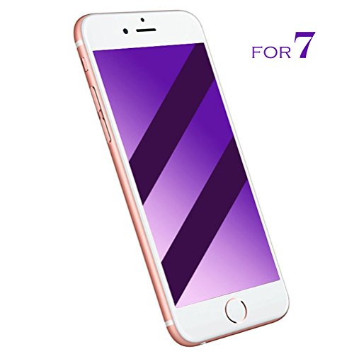 iPhone 7 Screen Protector, 9H Tempered Glass 3D Full Coverage Anti Blue Ray Flexible Frame for iPhone 7 (iPhone 7 White)