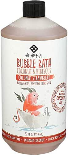Alaffia - Everyday Coconut Bubble Bath, Gentle for Babies and Up, Supports Soft Skin and Relaxation with Yarrow, Hibiscus and Coconut Oil, Fair Trade, Naturally Foaming, Strawberry, 32 Ounces
