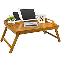 "LapGear Media Bed Tray - Natural Bamboo (Fits up to 12.9"" Tablet/17.3"" Laptop)"