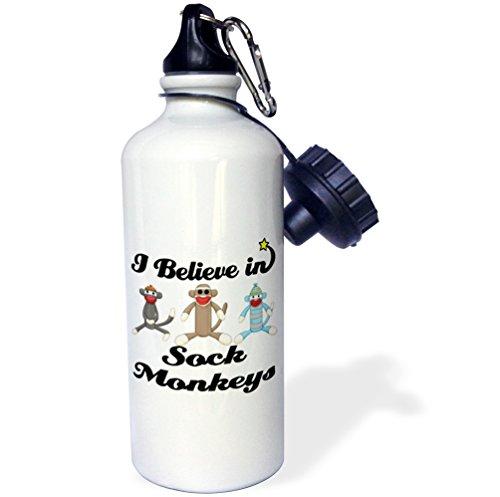 """3dRose wb_105557_1""""I Believe In Sock Monkeys"""" Sports Water Bottle, 21 oz, White"""
