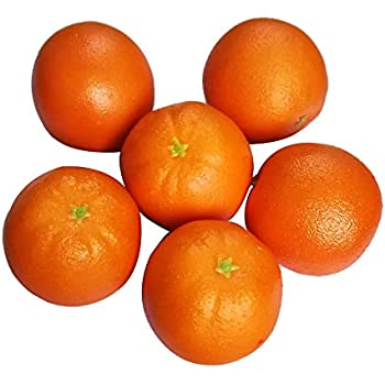 D-Seven 6pcs Fake Orange Artificial Fruit Faux Orange for Home Shop Office Hotel Supermarket Props Or Decoration