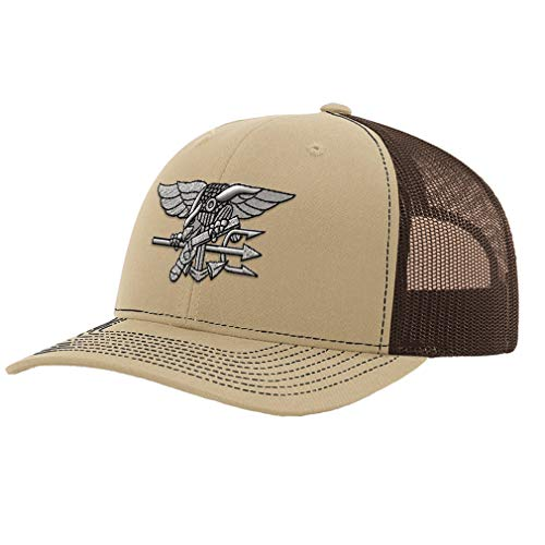Richardson Trucker Hat Navy Seal Silver Logo Embroidery Unit Polyester Baseball Mesh Cap Snaps - Khaki/Coffee, Design Only
