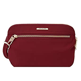 Travelon Women's Anti-Theft Tailored Convertible Crossbody Clutch Cross Body Bag, Garnet (purple) - 43202 240
