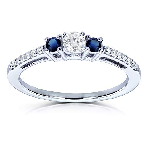 Round Diamond Sapphire Fashion Ring - Three Stone Round Diamond and Sapphire Engagement Ring 1/4 Carat TW in 10k White Gold - Size 10