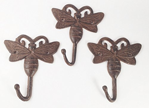 Aunt Chris' Products - Lot/Set of 3 - Cast Iron Bumble Bee - Single Hook - Wall Hung - Old Rustic Color Finish - Use Indoor Or Outdoor