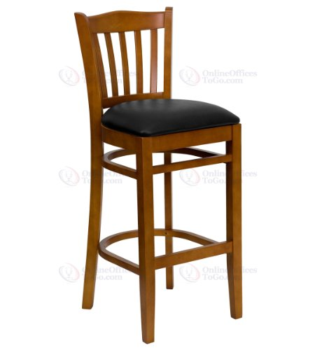 HERCULES Series Cherry Finished Vertical Slat Back Wooden Restaurant Bar Stool with Black Vinyl Seat