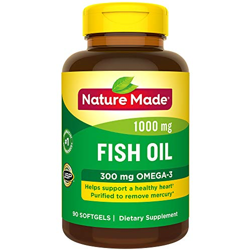 Nature Made Fish Oil 1,000 mg Softgels, 90 Count for Heart Health† (Packaging May Vary)