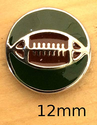 Mini SnapChunk Button Green Brown Football Charm for Ginger Snap Style Jewelry SE-427