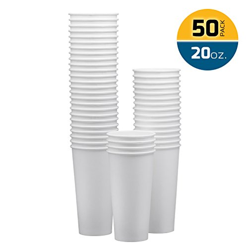 NYHI Disposable & Reusable Paper Cups, Espresso Cups – White - For Hot/Cold Coffee, Tea & Chocolate, Water, Beverages– Pack Of 50 - Extra Thick And Sturdy With Rolled Rim - Rim Usa
