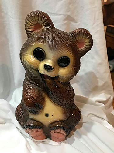 "Vintage Chalkware Bear Piggy Bank (11"" x 7"")"