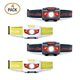4-Pack USA CREE Led Headlamps Flashlights, 160 Lumens, Red LED Night Vision, Features 2 Separate Control Switches, Nice Fit Strap, 2.6 oz Lightweight for Running, Camping & Hiking (2 Black &2 White)