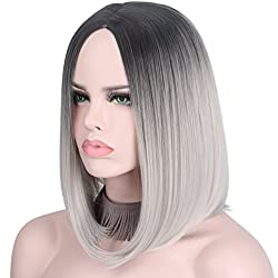 Short Wig Cosplay Wigs for Women Ombre Hair Silver Gray Synthetic Wigs Black to Grey Anxin Bob Straight Middle Part Full Head Wigs Heat Resistant (28CM, Grey)