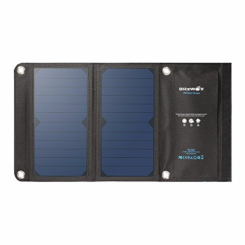 Solar Panel Phone Charger, BlitzWolf 15W 2A Foldable Dual USB Port SunPower Battery Charger for All Cellphone iPhone 6 6s Plus, Samsung Galaxy S5 S6 Note 4 5, Sony Xperia