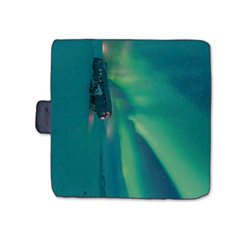 TecBillion Northern Lights Outdoor Picnic Blanket,Old Plane Wreck Under Aurora Borealis Misty Winter Day View Mat for Picnics Beaches Camping,58