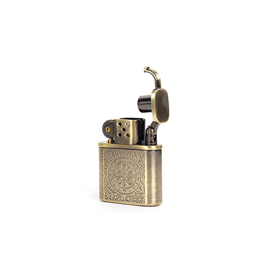 Bronzy Carved Constantine Antique Style Lift Arm Oil Petrol Lighter