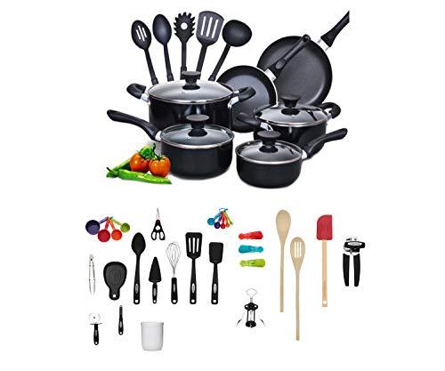 Cook N Home 15-Piece Aluminum Non-Stick Soft Handle Cookware Set bundle with Farberware 28-Piece Kitchen Utensil & Gadget Set