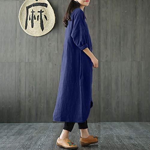 FeiXiang Unie Femme Tunique Robe Robe Marine Taille Robe Grande Taille Femmes Manches Grande Baggy Lin Couleur Coton Longues et pour Longue en Vintage rTrtxF1