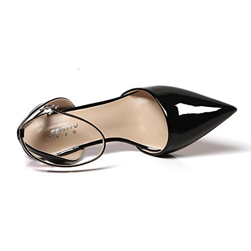 Womens Black Stilettos Wrap Toe Pointed Shoes Urethane Spikes Pumps 1TO9 Ankle P6FwqdP1