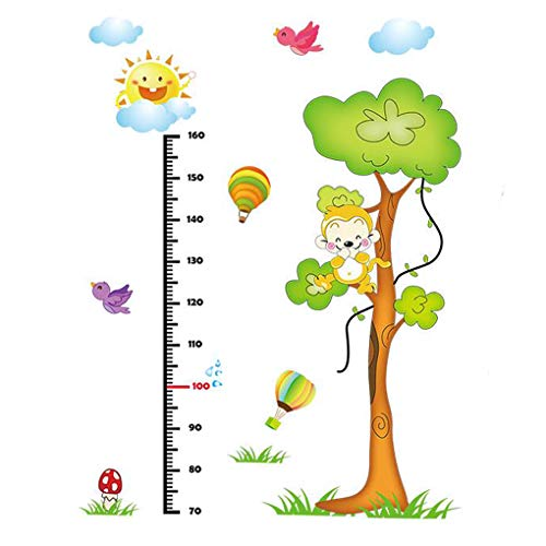 Cartoon Animals Growth Chart Wall Stickers Height Measurement Removable Wall Decals Home Decor Art Mural Baby Boys Girls Kids Bedroom Kitchen Room Decoration (Height Measurement Monkey Tree)