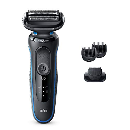 Braun Electric Razor for Men, Series 5 5020s Electric Shaver with Beard Trimmer, Rechargeable, Wet & Dry Foil Shaver with EasyClean, Black/Blue