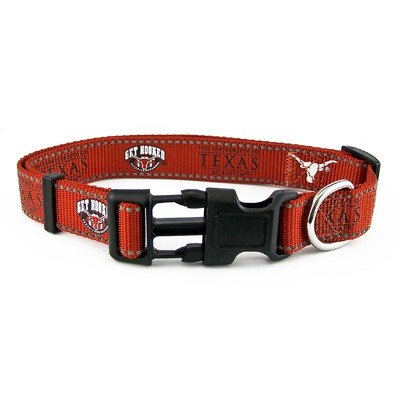 "University of Texas Nylon Dog Collar Size: Small (Adjusts 10""-14"")"