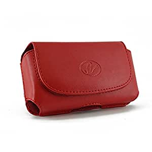 Red Horizontal Leather Look Holster Case Pouch with Belt Loop and Belt Clip For HTC ADR6410L / Fireball