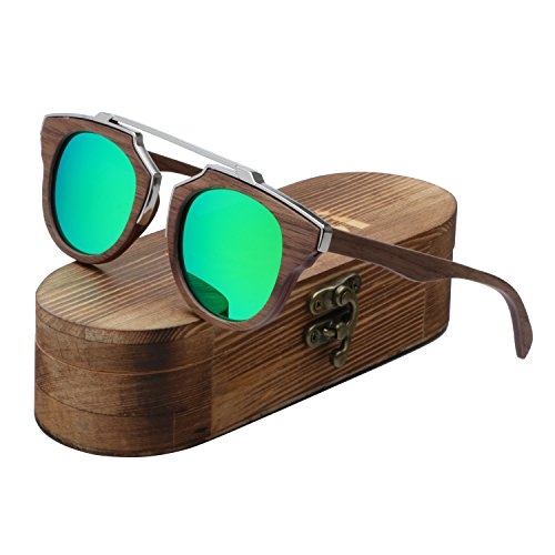 Ablibi Aviator Skateboard Wood Sunglasses Polarized Mens Retro Brand Designer Wood Shades for Women (Walnut, Ice - Sunglasses Brands Skateboard