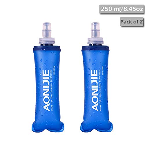 TRIWONDER TPU Soft Folding Water Bottles BPA-Free Collapsible Flask for Hydration Pack - Ideal for Running Hiking Cycling Climbing (250ml/8.45oz - Pack of 2)