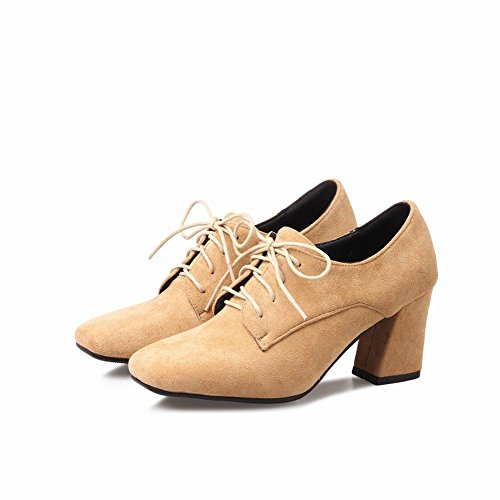 Mee Shoes Damen Chunky Heels Nubukleder mit Schnüre Ankle Boots Aprikose