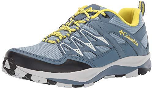 (Columbia Women's Wayfinder Outdry Hiking Shoe, Waterproof & Breathable, Dark Mirage, Acid Yellow, 8 Regular US)
