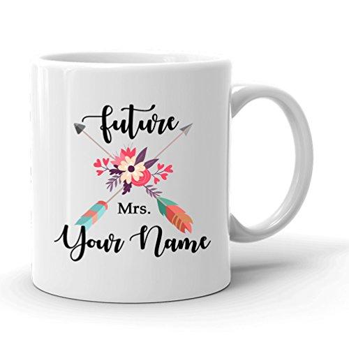 Personalized Future Mrs Mug, Future Mrs Engagement Mug, Bridal Shower Gift, Floral Arrow Wreath Mug, Cute Coffee Tea Cup, Engagement Gift for Her, Bride mug, Wedding Party Bride to be Engaged Mug (Teacup Wreath)