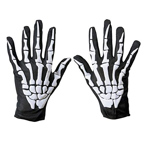 Sasairy Halloween Horror Skull Bone Gloves, Unisex Skeleton White Bone Short Gloves Halloween Costume Cosplay Party Props (White)