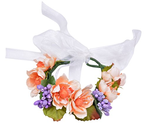Womens Flower Wreath Beach Festival Wedding Floral Bracelet Wrist Band (Orange)